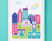Philadelphia Art Print for Nursery or Children's Room Decor