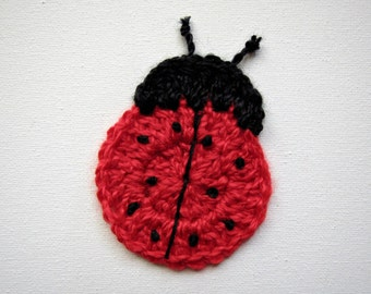 """1pc 4"""" Crochet  LADY BUG Applique"""