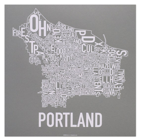 Portland Neighborhood Map By Ork Posters By Orkposters On Etsy