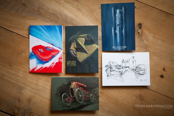 Motoring Art - Set of 5 Blank Cards - Speed Record