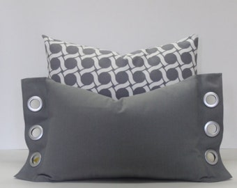 Grey lumbar pillow cover with flange and grommets ~ Brushed silver grommet accents. sofa pillow cover, home decor accent pillow