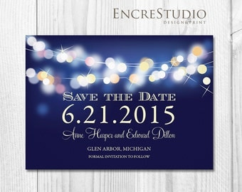 Printable Save the Date Invitation - Gold and Blue Bokeh - Night Lights