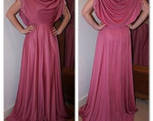 Vintage 1970s dusky pink evening gown dress with cape style detailing