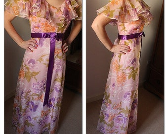 Vintage 1970s Pink Floral Garden Maxi Dress with purple orange green floral design and ruffle detail