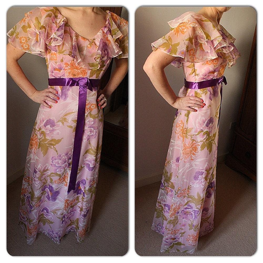 Vintage 70er jahre pink floral garten maxi kleid mit lila for Garten 70er jahre