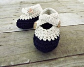 baby shoes, baby booties, Crochet two strap baby booties, navy blue and cream cotton CHOOSE YOUR SIZE