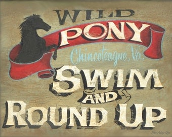 Wild Pony Swim and Roundup  Print, Virginia art