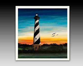 Lighthouse Ceramic Tile Coaster Cape Hatteras Lighthouse Outer Banks gifts giftware accessory table  home living decor kitchen office