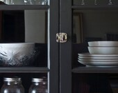 Salvaged French Door Pantry with Charcoal Pinstripe