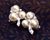 RESERVED - Clip-on 3 pearl vintage earrings