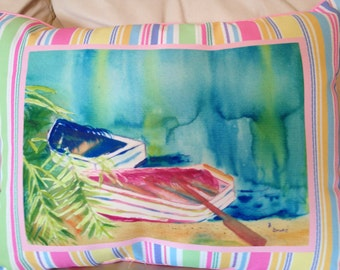Beautiful Watercolor Boat and Beach Scene Pillow
