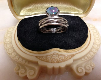 Handmade Opal and Sterling Silver Ring Size 8
