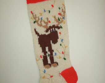 Hand-knitted Reindeer Stocking