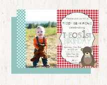 Teddy Bear Picnic Theme Party Personalized Birthday Invitation or Evite With Picture - Vintage Picnic, Double Sided - DIGITAL FILE ONLY