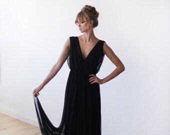 Black sheer chiffon maxi dress, Maxi chiffon formal gown