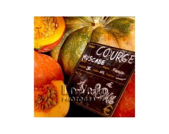 French Market Photo, Orange Squash, Kitchen Art, Autumn Harvest, France, Food Photography