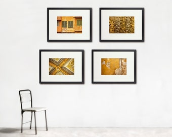 Tuscan Gold Photo Set, Large Wall Art, Chic Italian Style, Gold Home Decor, Rich, Glamorous, Set of Four, Large Wall Art