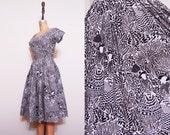 1950s full skirt dress / Vintage 50s brown black white printed dress