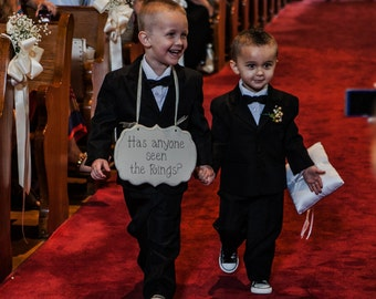 Has anyone seen the Rings? Hand Painted Ring Bearer Sign - Wedding Signage - Wooden Ring Bearer Sign - Funny Ring Bearer Sign - kg6780