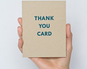 "Letterpress ""Thank You Card"" - Kraft Paper - Blue Ink"