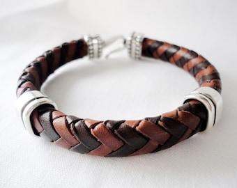 Men leather Bracelet, Spanish Braided Regaliz Licorice Cuff , Silver plated,  Handmade Jewelry,