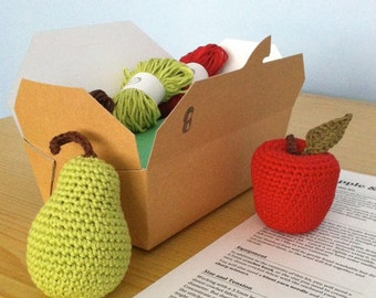 Crochet Kit / DIY Kit Crochet Fruit / Crochet Gift / Eco-friendly Craft Kit / Apple Pear / Gift for Crocheter / Beginner Crochet Kit
