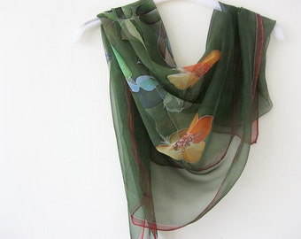 Green silk chiffon scarf hand painted floral - made TO ORDER