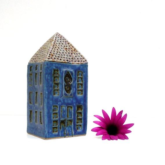 Spring Decor, Blue Ceramic House, Ceramic Sculpture