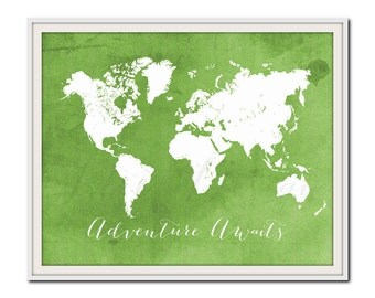 Green World Map Print, Adventure Awaits, Travel Print, Nature, Go Green, Nursery Travel Print, Colorful Map Poster, Spring Home Decor