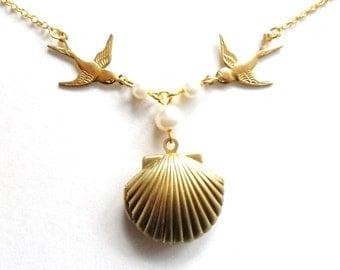 Sea Shell Swallow Locket, Mermaid Necklace, Beach Locket, Gold Tone Brass, Little Shell Locket, Nautical Jewelry, Pearls, Golden Birds