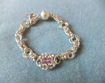 Byzantine ladies bracelet, chainmaille bracelet, Silver bracelet, Byzantine bracelet, gift for her, mother's day gift, flower bracelet.