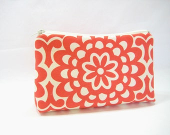 Coral Cosmetic Bag, Zippered Accessory Pouch, Curvy Pouch, in Coral Red Amy Butler Print