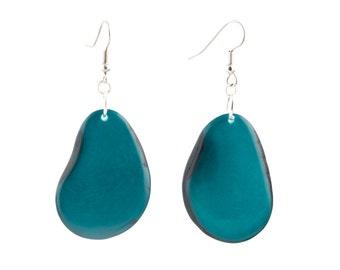Tagua Nut Earrings / Tagua Nut Jewelry / Tagua Earrings / Statement Earrings / Tagua Seed Earrings / Forest Green Earrings / Fair Trade