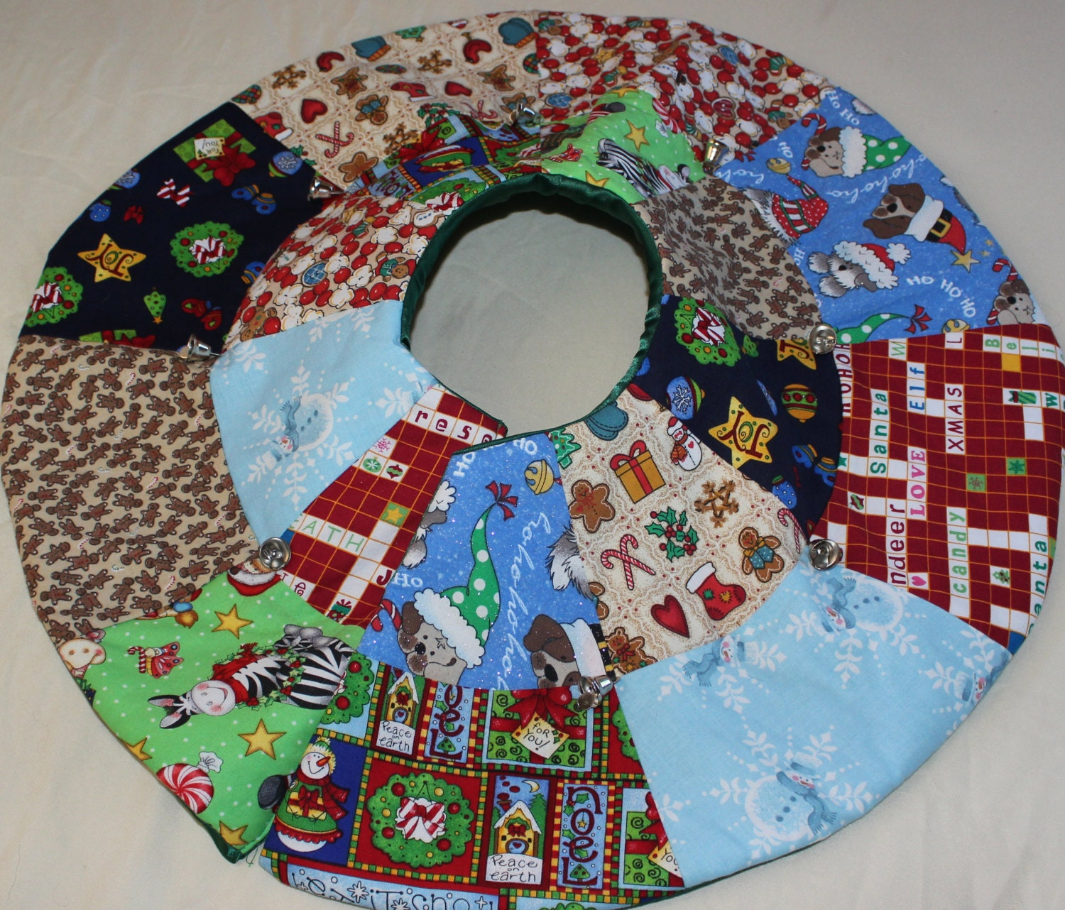 Mini christmas tree skirt quilted handmade