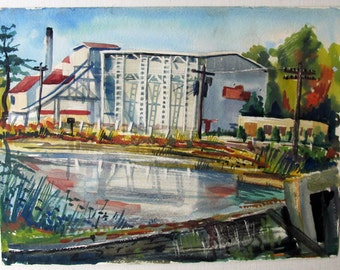 1939, INDUSTRIAL Scene, Original WATERCOLOR, Signed and Dated, Excellent Technique, WPA Era