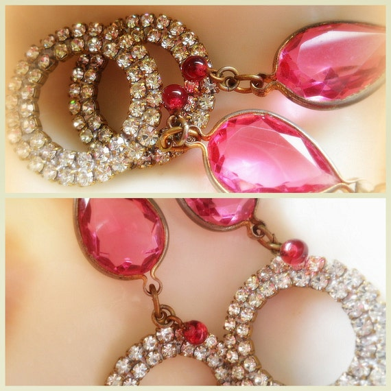 Reserved, Once Upon A Time Pink Rhinestone Earrings Vintage Repurposed Earrings Assemblage Jewelry Princess Jewelry Handmade Earrings OOAK