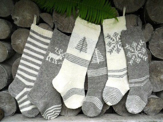 Knitting Pattern For Large Xmas Stocking : FOR 2015: Hand knit Christmas Stocking Grey by KnittingsWithSense