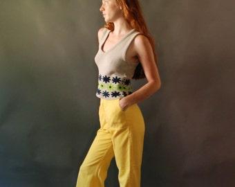 90s retro large neon daisy sweater vest