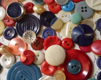 75 Antique Red, White, and Blue Buttons Lot No.402
