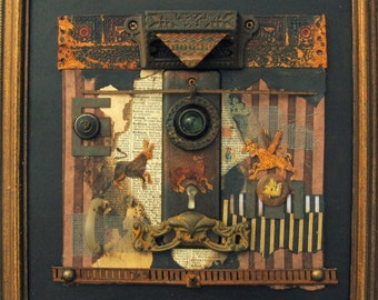 Mixed Media Assemblage Collage Found Objects Junk Art