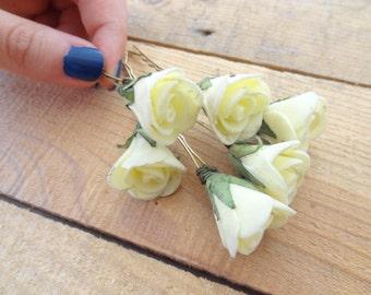 Yellow  Rose Wedding Hair Pins, Ivory Bridal Hair Pins, Hair Accessories, Bridesmaid Hair, Woodland - Set of 8