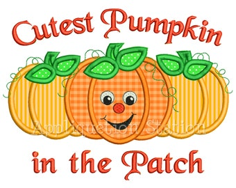 Cutest Pumpkin in the Patch Applique Machine Embroidery Design orange thanksgiving pumpkins trio INSTANT DOWNLOAD