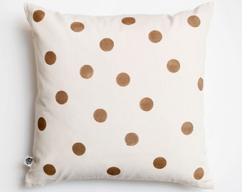 Throw pillow with gold dots - patterned decorative pillow - accent pillow for sofa decor - modern pillow 16x16   0113