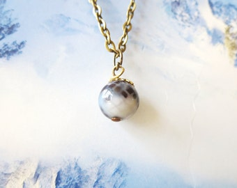 Moon necklace Planet necklace tiny moon  Glass dome two sides Earth necklace Moon jewelry -Galaxy,Space Jewelry