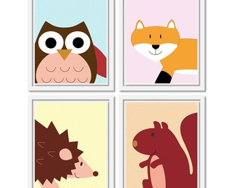 Woodland Animal Prints. Set of four 8x10 Printable Nursery Art PDF. Baby Wall decor. Includes fox, squirrel, owl and hedgehog.