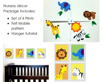 Jungle Safari Nursery Decor Package: includes felt baby mobile pattern and set of four 8x10 printable animal artworks.