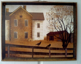 Billy Jacobs Picture Plaque , Featuring A Beautiful Country Farmhouse ,  Primitive Folk Art , Perfect Gift , Handmade in USA