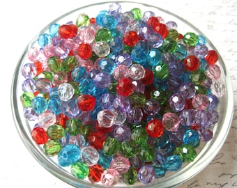 Faceted Beads, 8mm Translucent Beads, 50 pcs, Mixed Color Bubblegum Bead, Gumball Beads, Acrylic, Bracelet Beads, Spacer Beads
