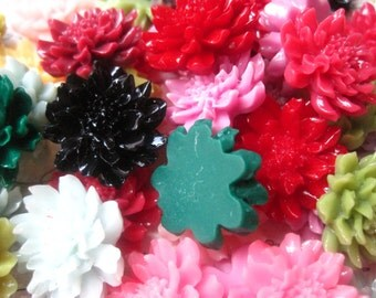 Resin Flower Cabochons / 10 pcs 24mm Mixed Lot Resin Cabochon Flowers.... Perfect for Bobby Pins, Pendants and More