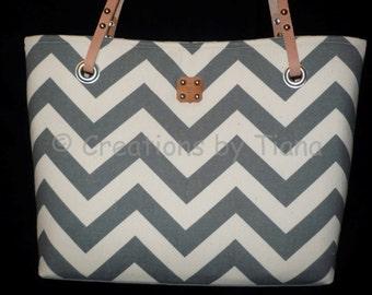 Gray Chevron Canvas Bag Purse, Shoulder Bag w leather handles, Handmade